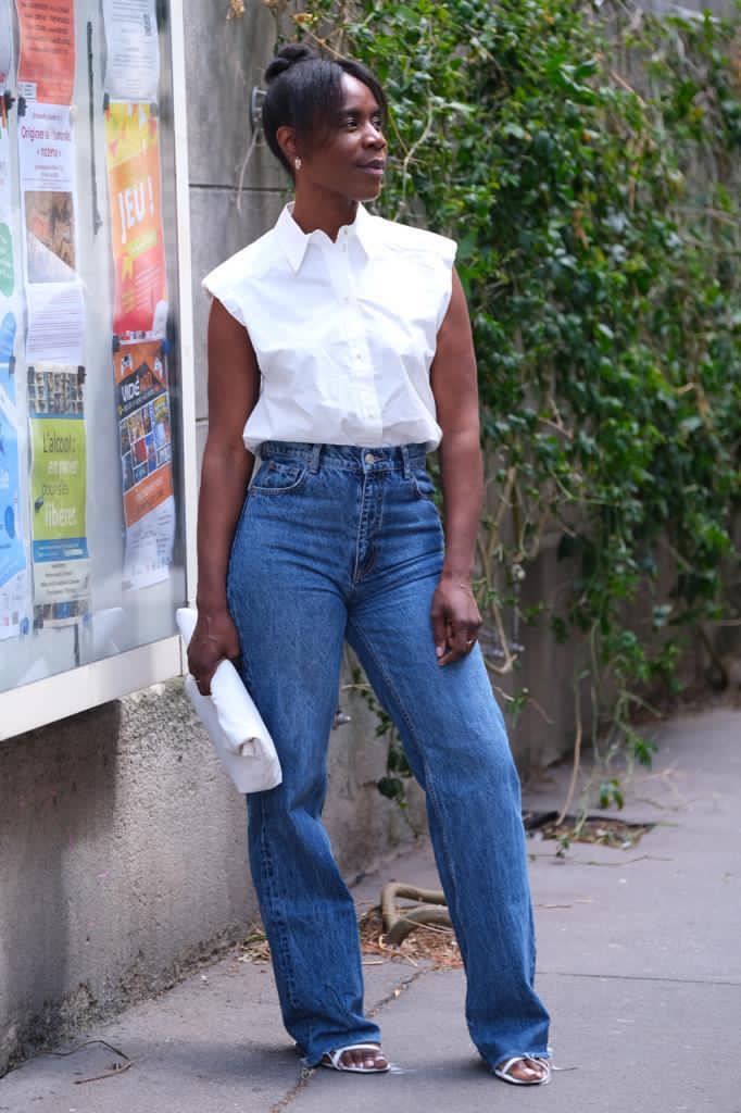 White shirt, blue jean